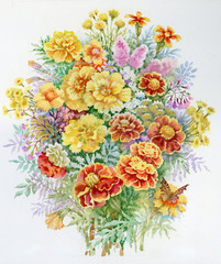 Watercolor Flower Collection: Bouquet of Marigold