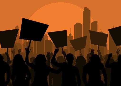 Protesters crowd landscape background illustration