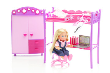 doll and hanger with a price tag sale,doll wardrobe , bed, chair