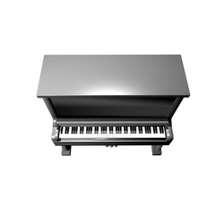 3D Piano icon rendering top view isolated on white background