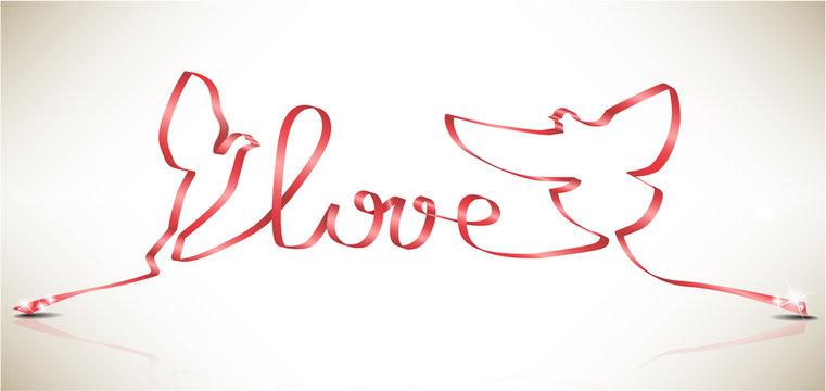 Vector doves and word LOVE created from a ribbon