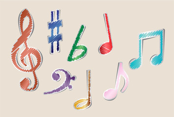 Set of music notes and symbols