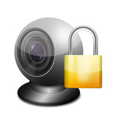 Icono webcam 3D con candado