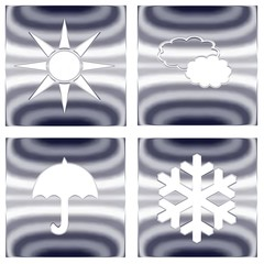 4 boutons météo, métal argenté