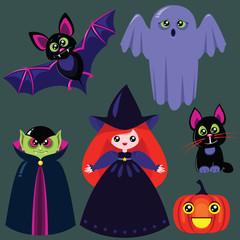 Funny cartoon halloween set