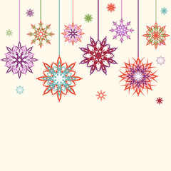 Vector illustration of an abstract snowflakes, flowers backgroun