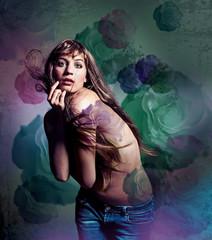 Mädchen mit Tattoo, Kunstdruck, Gemälde/hairbeauty 16