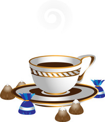 White cup with coffee and chocolates.Illustrations