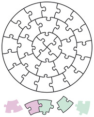 Jigsaw puzzle in the form of circles with single pieces which can be individually removed and arranged. Illustration on white background. Vector.
