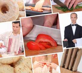 Food preparation themed collage