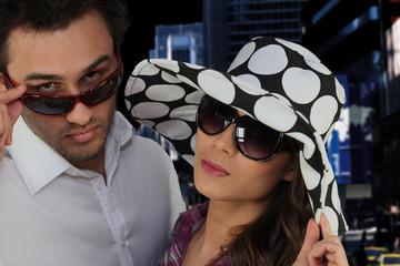 Couple wearing sunglasses