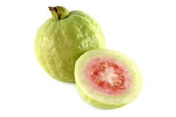 Closeup tropical fruit photo : Fresh Pink Apple Guava