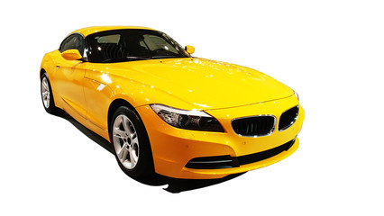 Self adhesive Wall Murals Fast cars Yellow car , international auto show