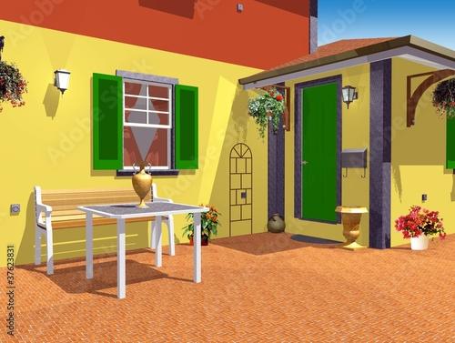 Casa di campagna esterno cortile country home esterior 3d - Esterno casa di campagna ...