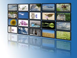 Sala de monitores moderna con imágenes relajantes