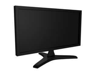 Lcd tv black monitor on white background