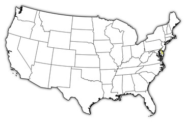 Map of the United States, Delaware highlighted