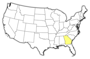 Map of the United States, Georgia highlighted