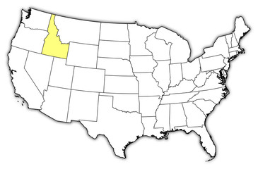 Map of the United States, Idaho highlighted