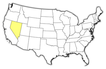 Map of the United States, Nevada highlighted