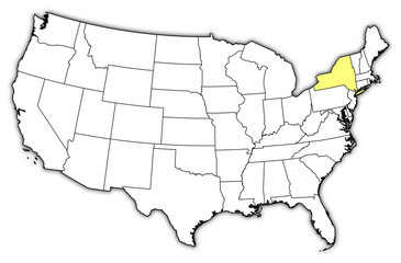 Map of the United States, New York highlighted