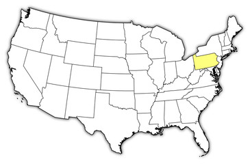 Map of the United States, Pennsylvania highlighted