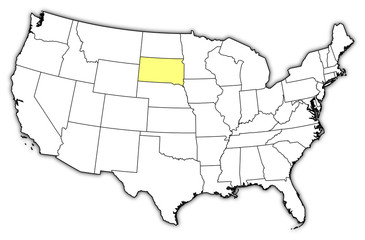 Map of the United States, South Dakota highlighted