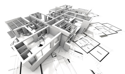 appartment mockup on top of architect's blueprints