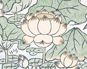 lotus painting on chinese temple wall