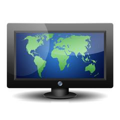 Icono monitor 3D con mapa mundi