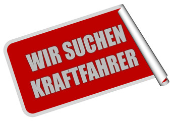 Sticker rot eckig rore WIR SUCHEN KRAFTFAHRER