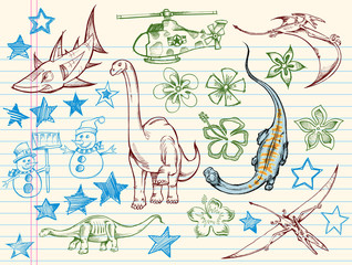 Doodle Sketch Vector Illustration Design Elements Set