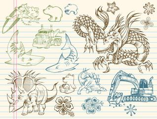 Doodle Sketch Vector Illustration Elements Set