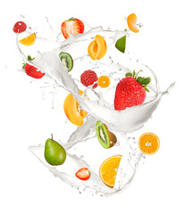 Wall Mural - Mixed fruit in milk splash, isolated on white background