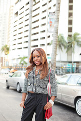 Woman posing at Downtown Miami