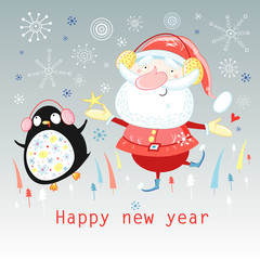 Dancing Santa Claus and a penguin