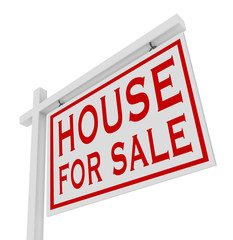 House for Sale White Sign Advertise Home Real Estate