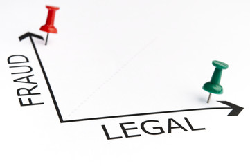 Legal chart with green pin