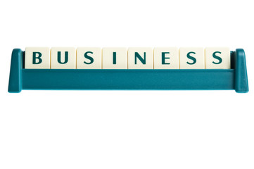 Business word on isolated letters board