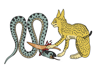 Snake Apep decapitated by Ra in the form of the Great Cat