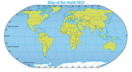 World Map 2012 including new states like South Sudan.