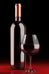 Red wine bottle and chalice