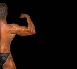 Marcando el bíceps.