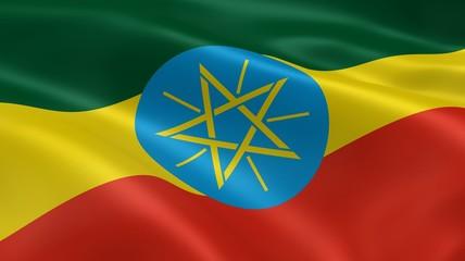 Ethiopian flag in the wind
