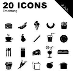 20 Icons Ernährung schwarz