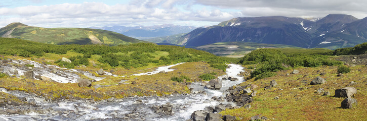Beautiful view of the white river in Kamchatka