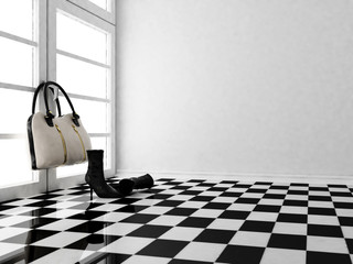 the black leather boots and a bag in the interior