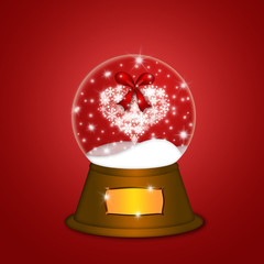 Water Snow Globe with Snowflakes Heart Red