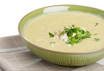 creamy soup with parsley
