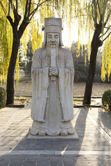 Statue Of A Chinese Emperor In The Sacred Way Of The Ming Tombs